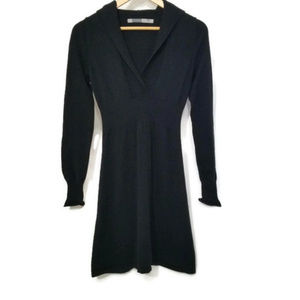 Athleta Hooded Knit Long Sleeve Black Dress
